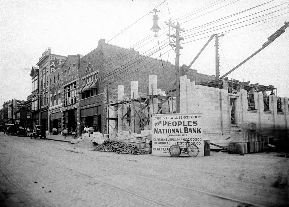 People's National Bank, 1916 photograph by Rufus Holsinger