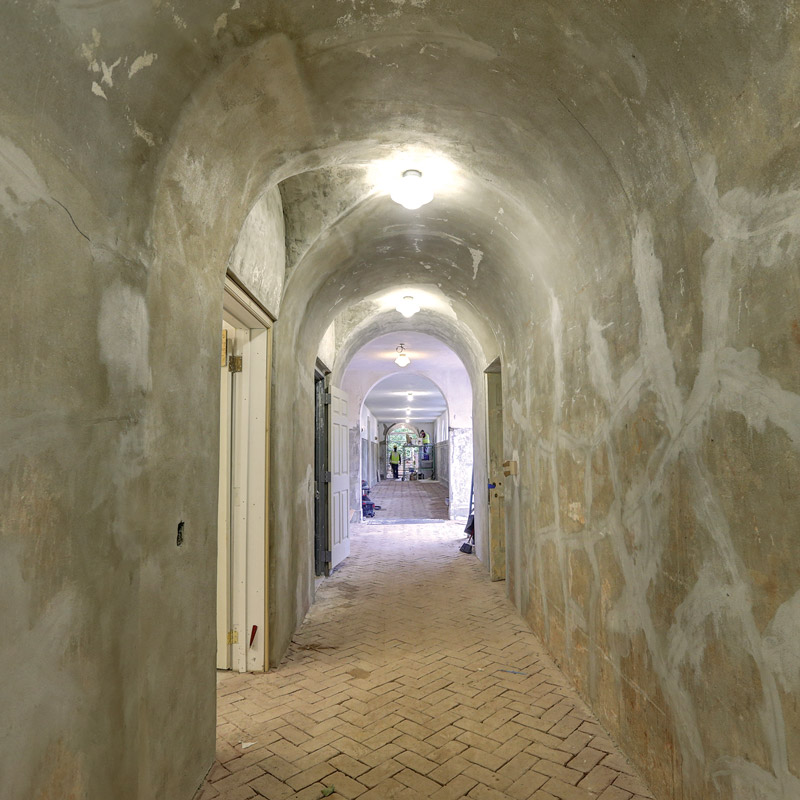 South portico arched hallway